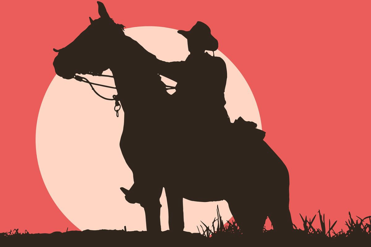Drawing of a man with a cowboy hat on a horse, the full sun in the background.