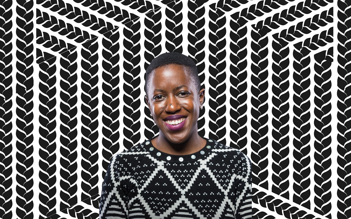 Nontsikelelo in a black-&-white diamond patterned sweater photoshopped onto a background of stylized black braids on white