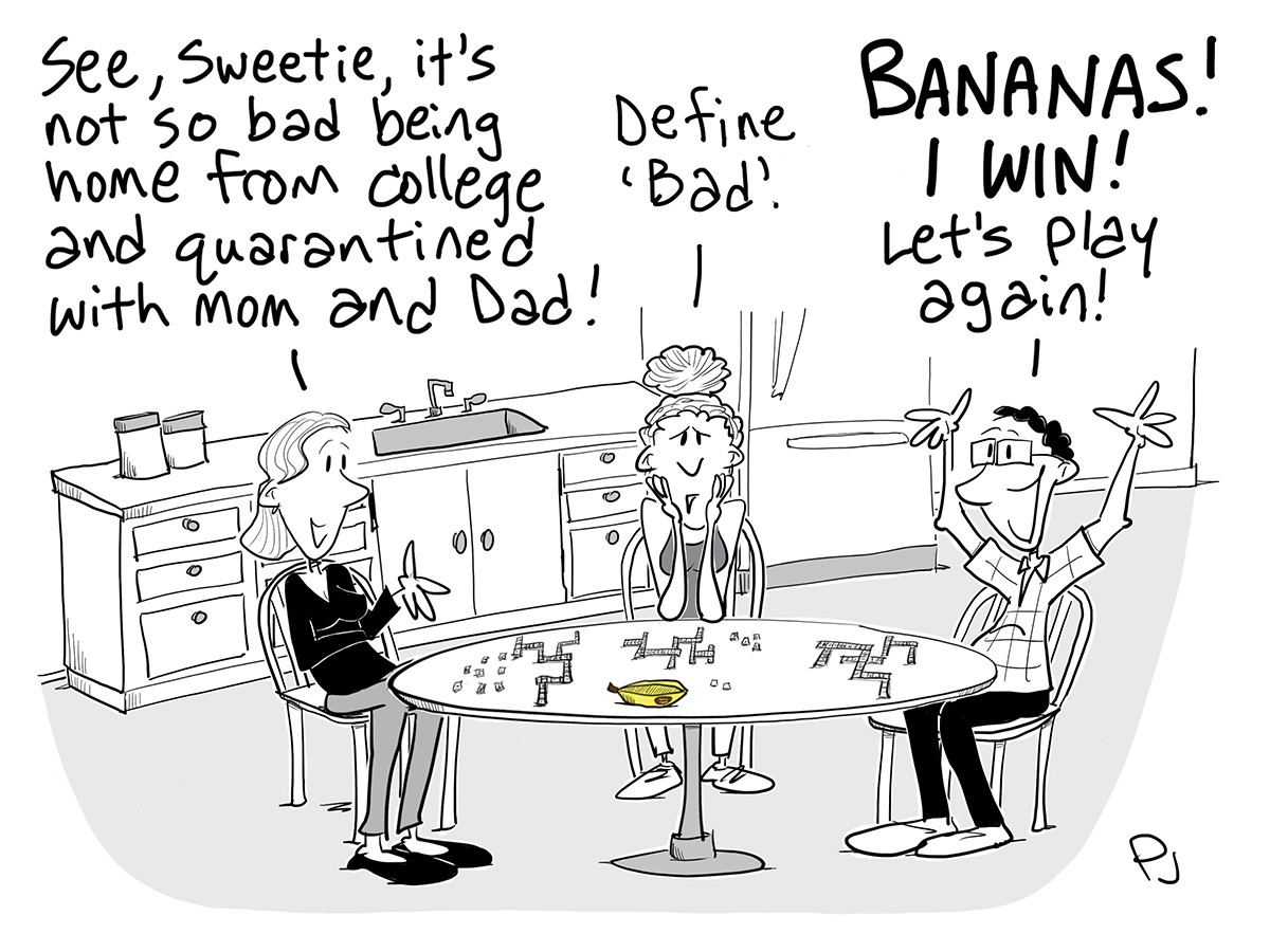 Cartoon of a mom, dad, and college-aged girl playing Bananagrams in the kitchen.