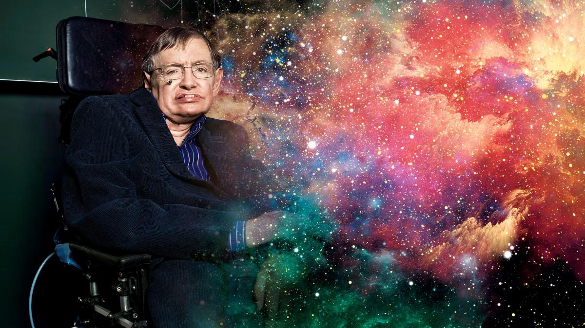 The late Prof. Stephen Hawking fading into a colourful nebula