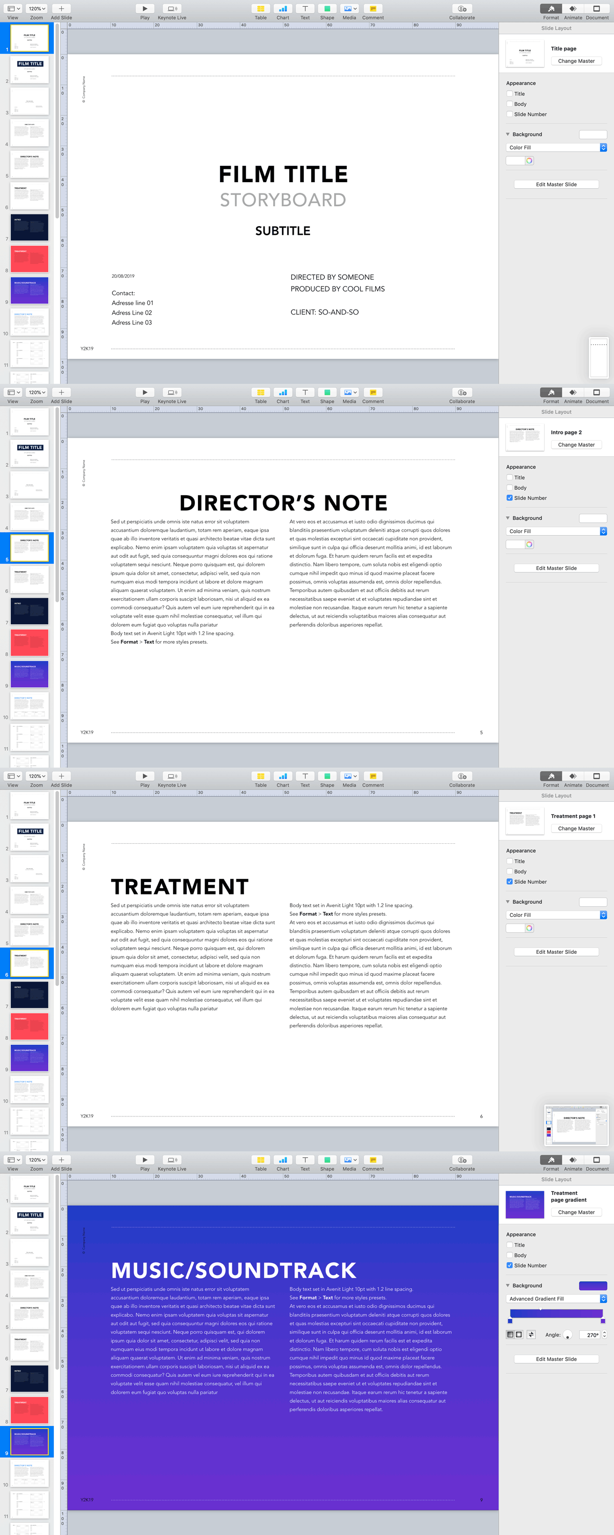 Apple Keynote Storyboard Theme Advertising Film Treatment Scope 1.85×1 Avenir Light 10pt on DIN A4 landscape, pages sample