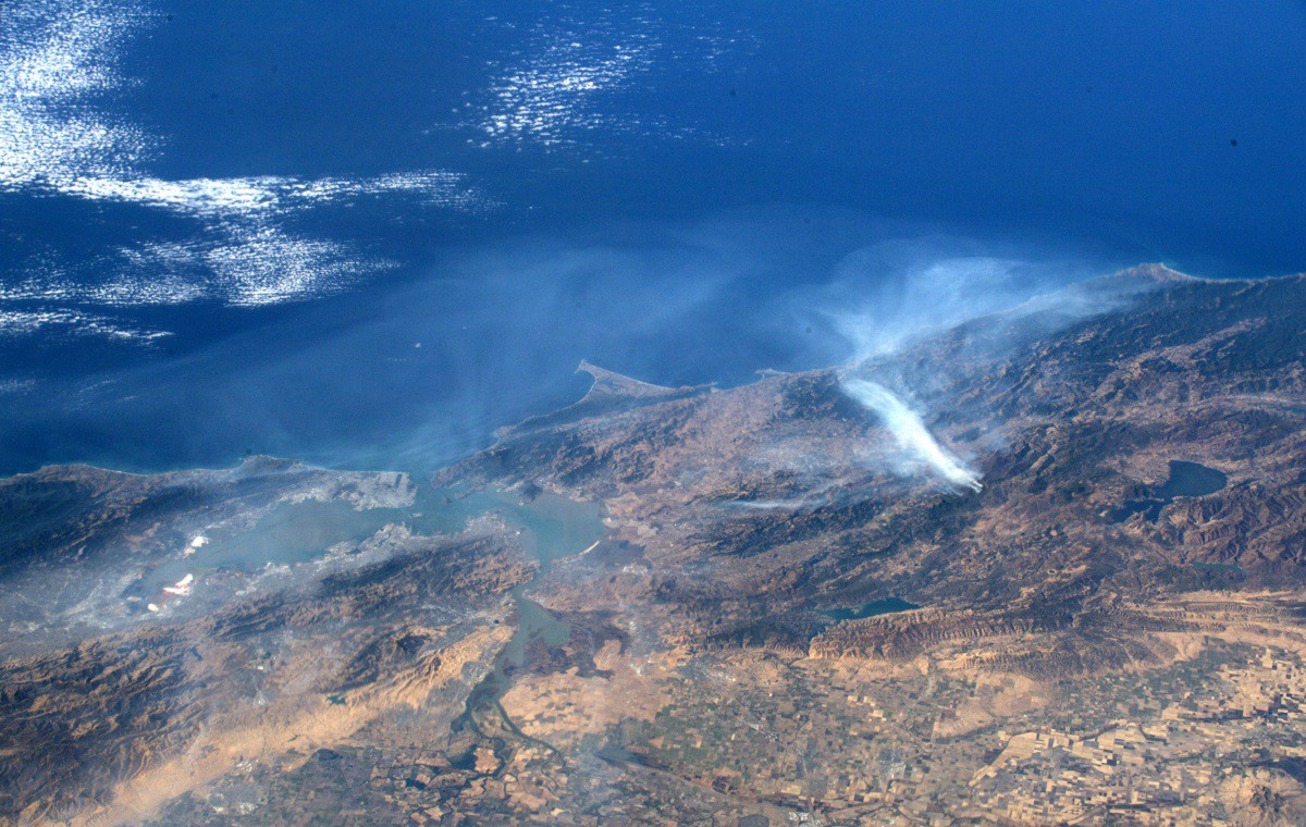Wildfires burning north of the California Bay Area as seen from space.