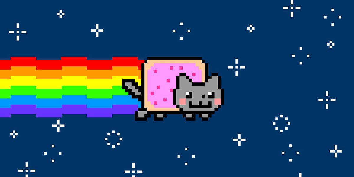 Digital image of a pixelated cat with a pop tart for a body and a rainbow coming out of its butt, flying through a dark blue starry sky