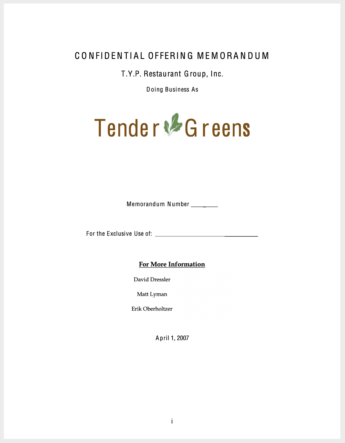 Cover page of the original Tender Greens business plan and stock offering.