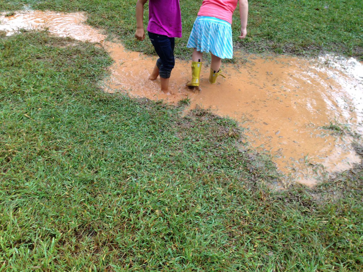 Young children play in a mud puddle