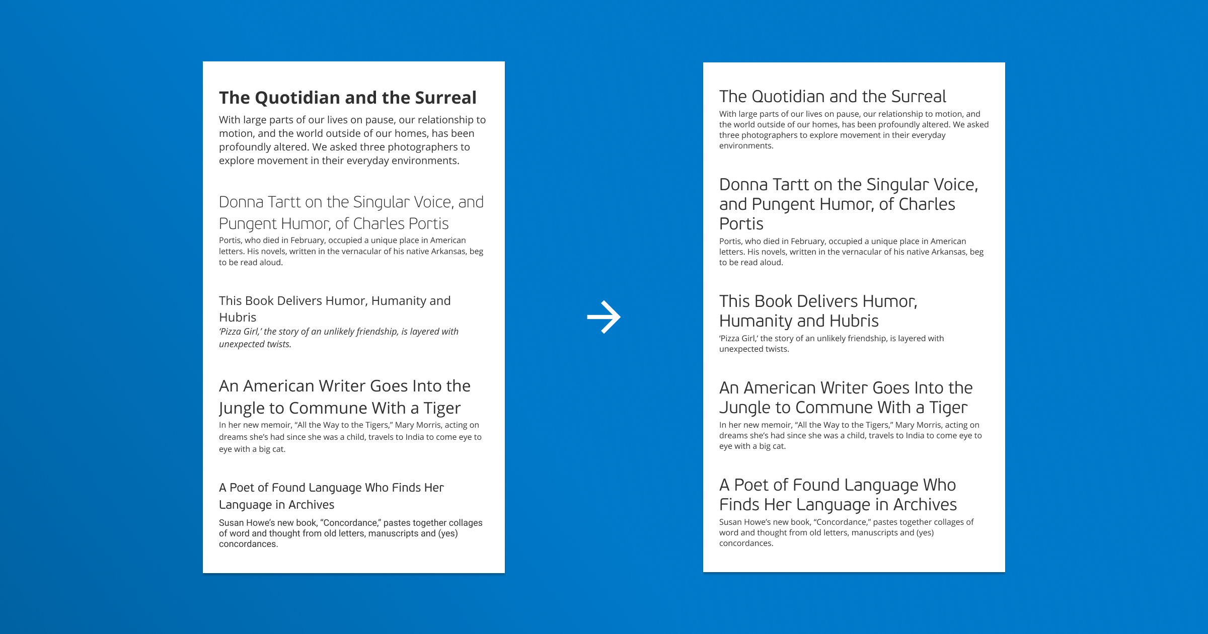 Before: Articles with different fonts and sizes for titles and body text. After: Same styling for same elements.