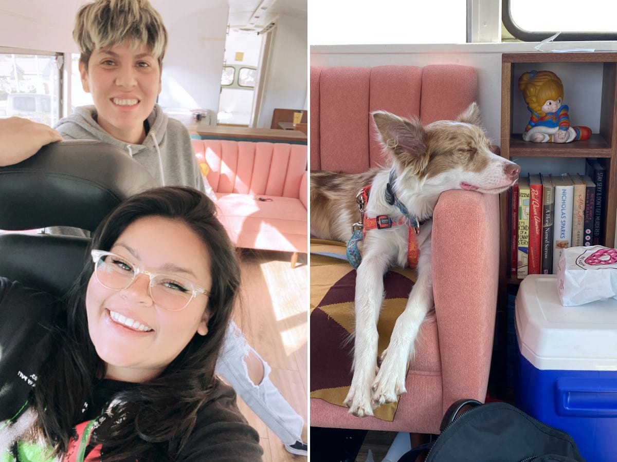 The couple and their dog, Lolita, live together on the bus.