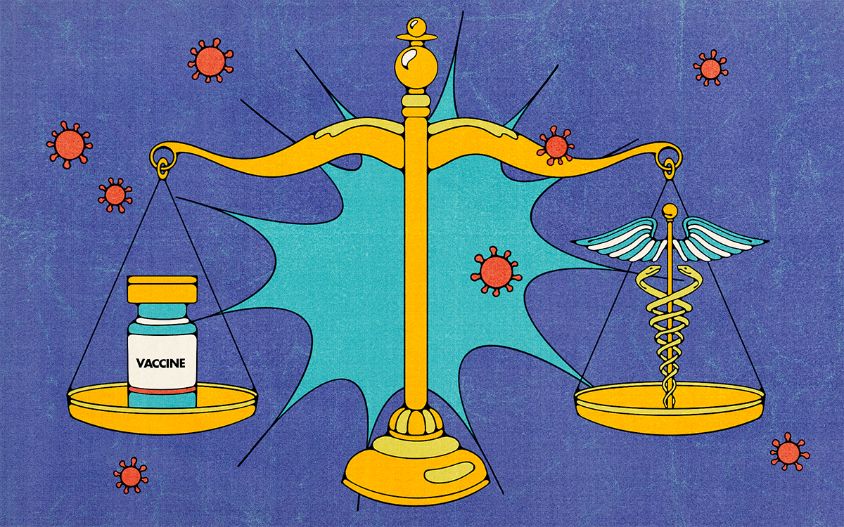 Illustration of a vaccine and the caduceus weighed on a scale.