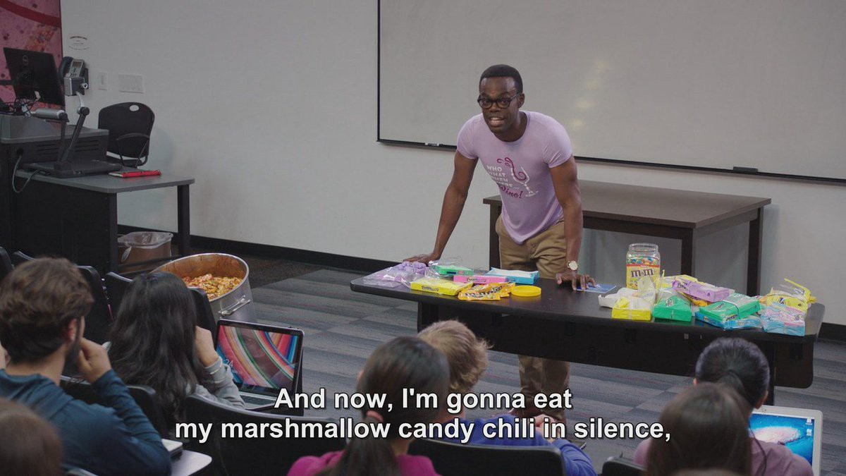 And now, I'm gonna eat my marshmallow candy chili in silence