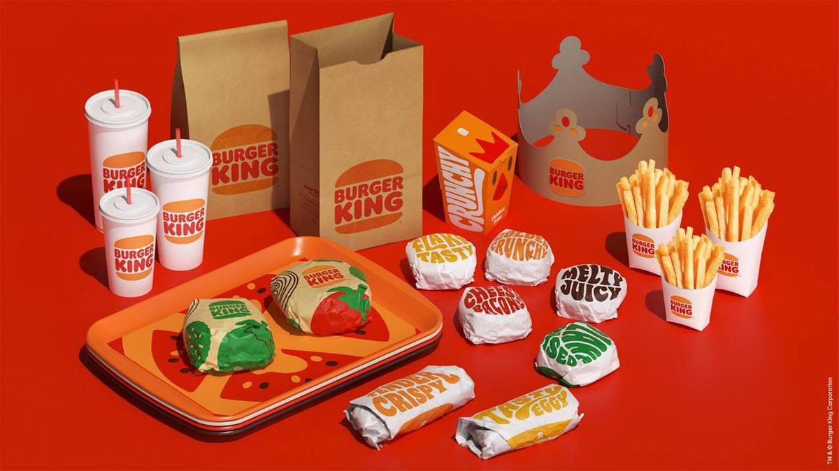 Burger King's new branding examples for wrappers and products