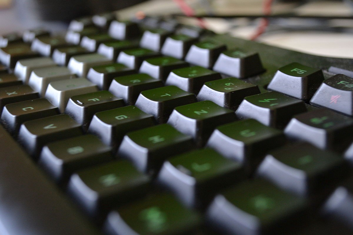 A somewhat blurry shot of a gaming keyboard.