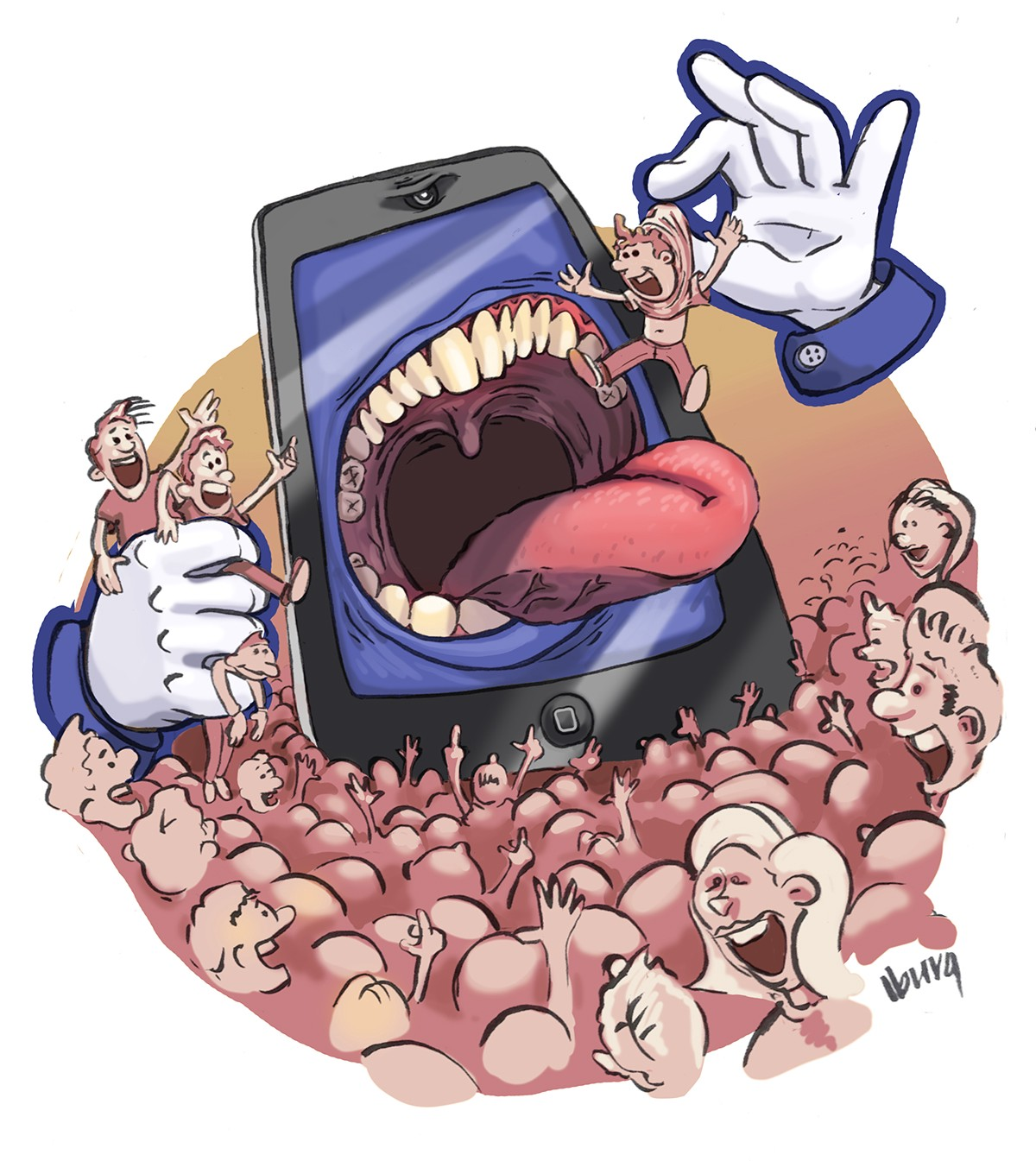 Large mobile phone with blue app background, devouring enthusastic people from a crowd.