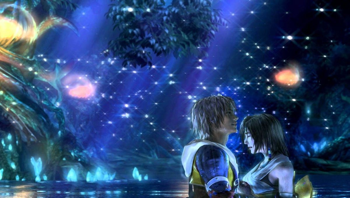 Tidus and Yuna under starry skies