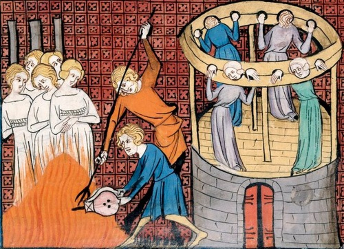 Old painting of witches being burned at the stake and held in stocks.