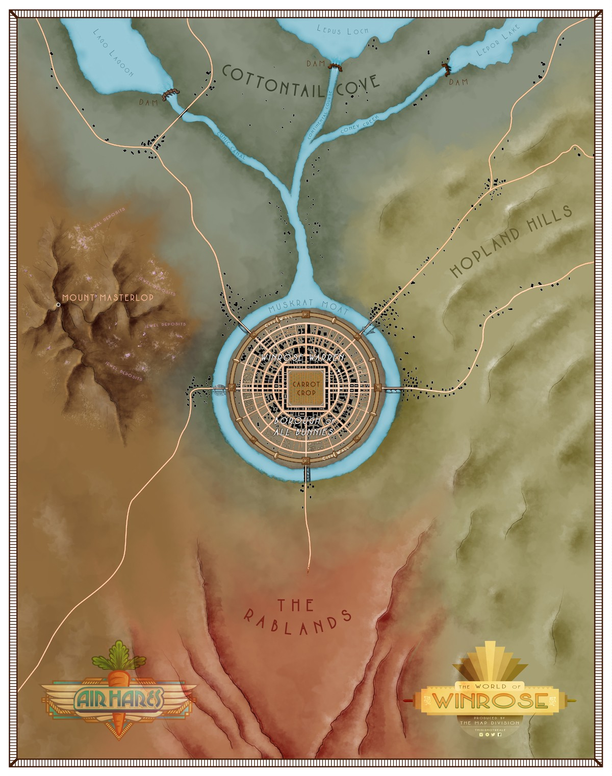 A map of Winrose, where Air Hares is set, showing a metropolis in the center surrounded by rivers, mountains and desert.