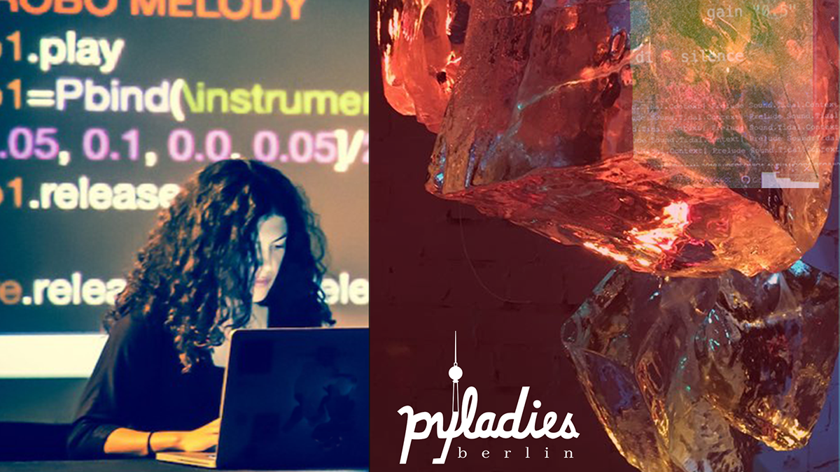 Picture of woman coding and ice art work with pyladies berlin logo