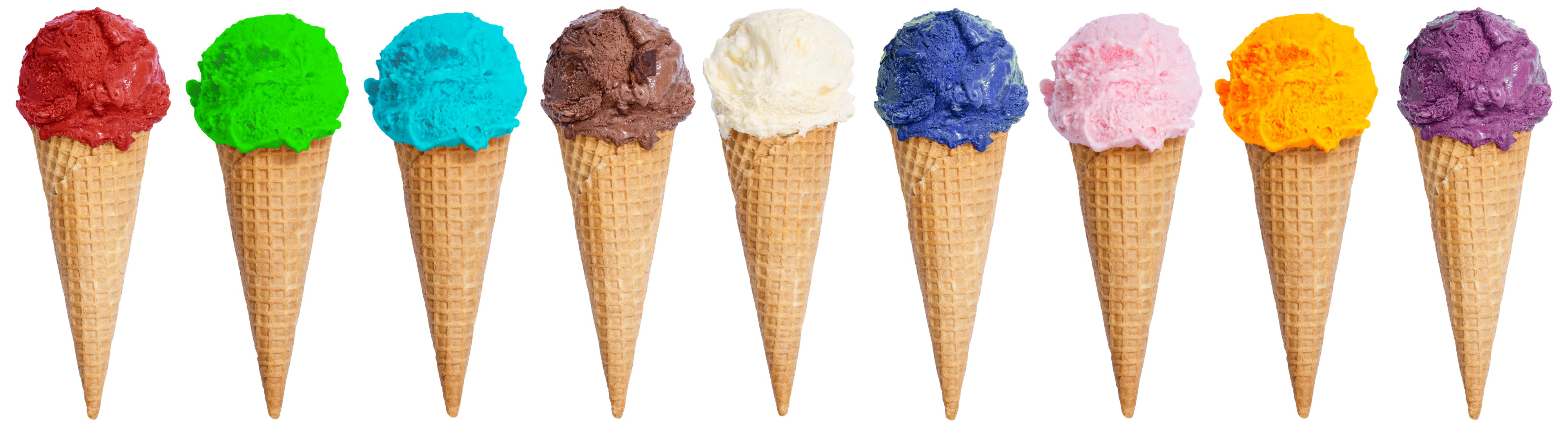 Variety of ice-cream flavour options available - showing 32 ice-cream lavours to show the number of options available.