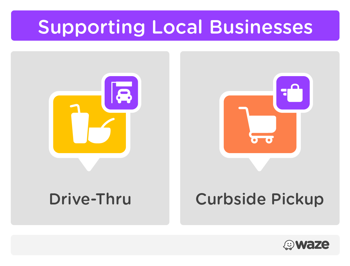 Supporting local businesses with unique badges to clearly show pick-up options, including drive-thru and curbside pickup