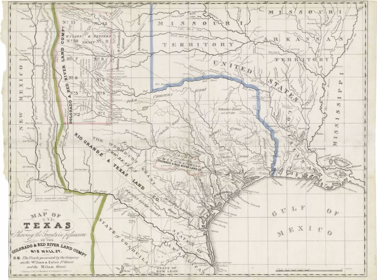 Map Of Texas 1835.Map Of Texas Shewing The Grants In Possession Of The Colorado Red