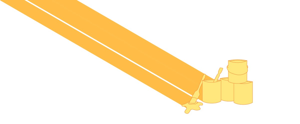 Illustration of yellow paint cans.