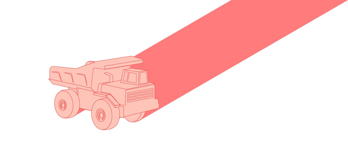 Illustration of a pink toy truck.
