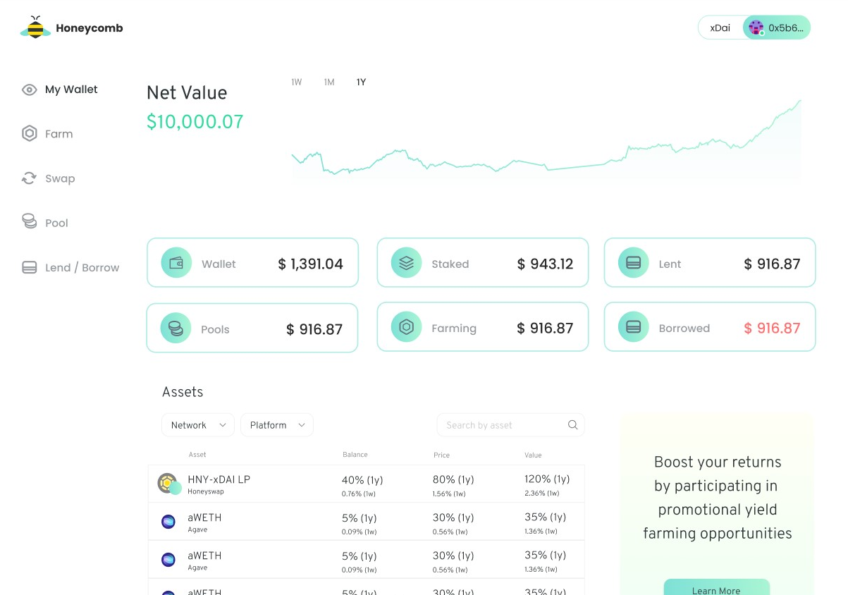 Honeycomb wallet interface screen showing Netvalue of assets on the xDai blockchain