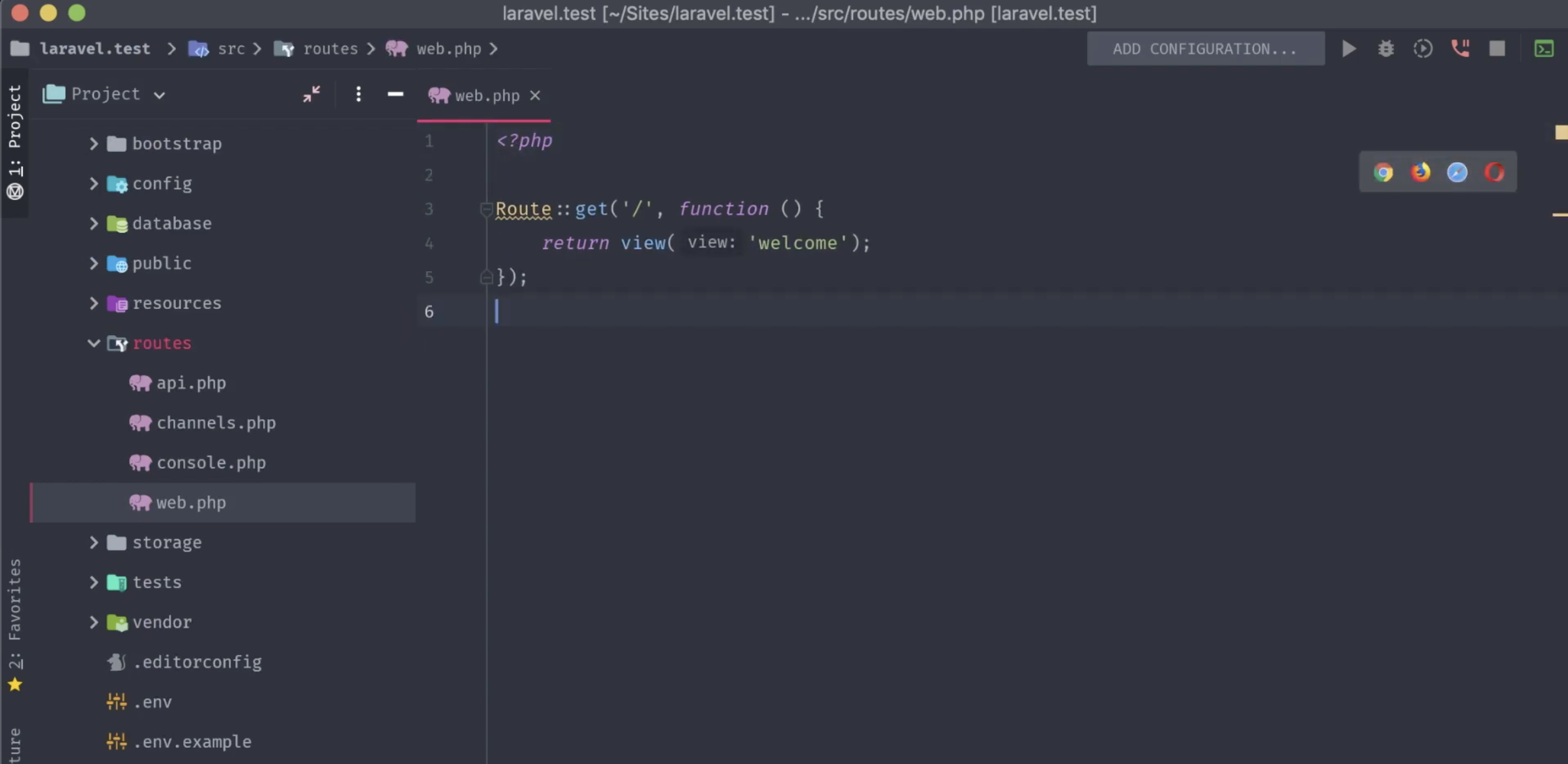 Our blank Laravel project's web.php route file