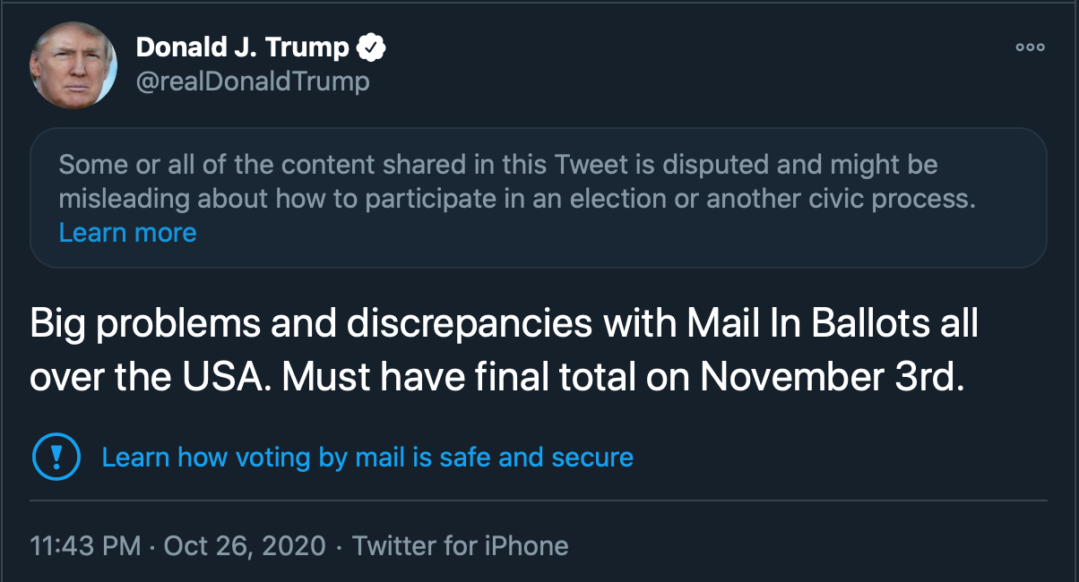 "Trump Tweet that says ""Must have final total on november 3rd."""