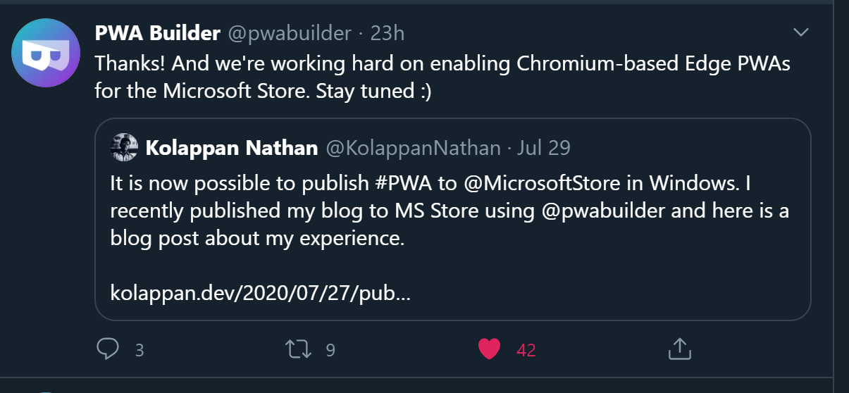 A screenshot of the tweet for the work we are doing on Chromium Based Edge PWAs in the Microsoft Store