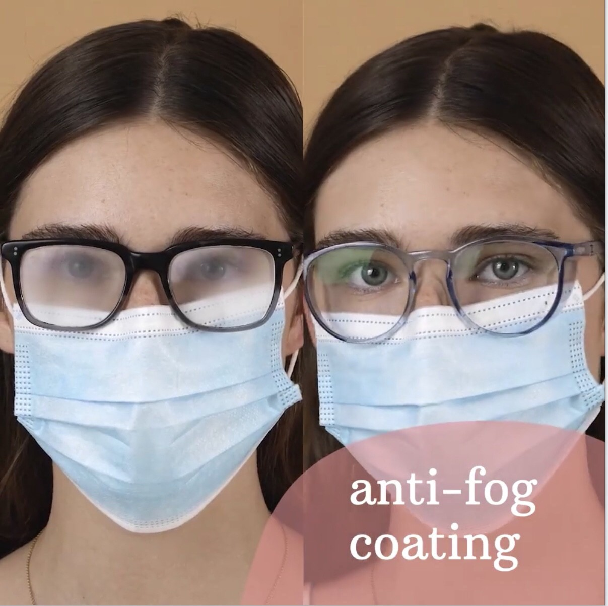 Before of foggy glasses and after using Stoggles while wearing a mask