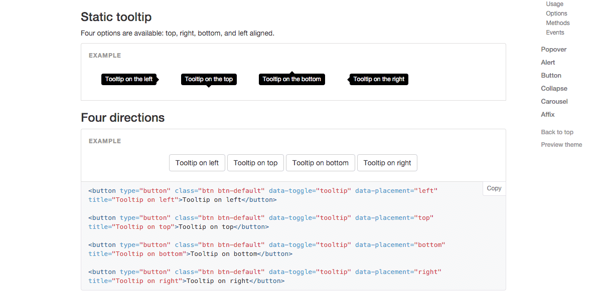 Bootstrap 2 tooltip example, W3C compliant javascript code