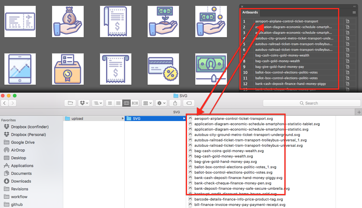 Use Artboards & Export to Auto-tag Icons - The Iconfinder Blog