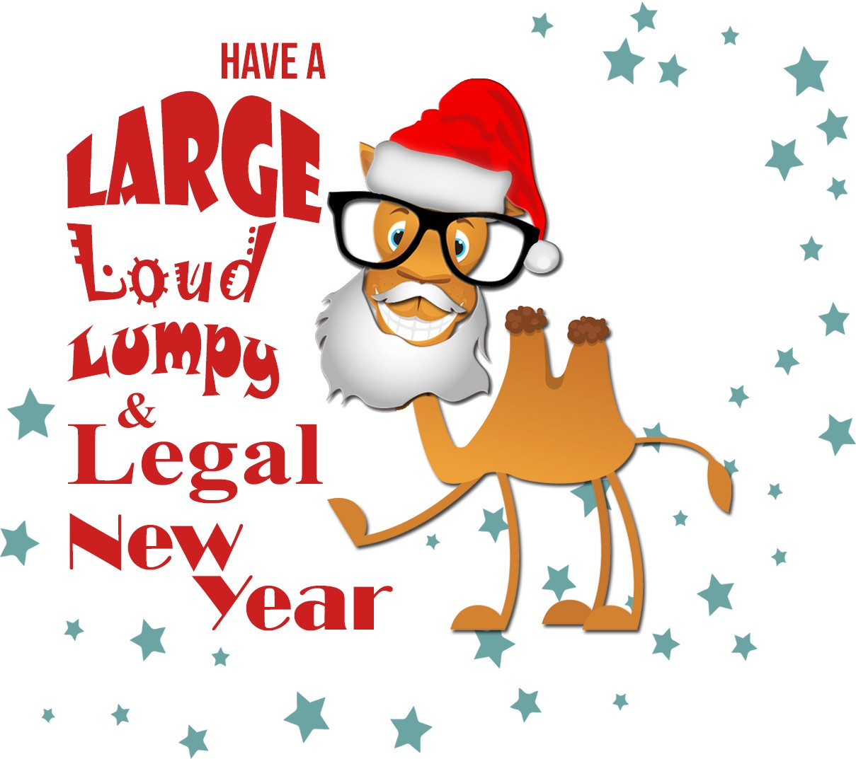 """Seymour, with stars, wearing a santa hat and beard with the words """"Have a large loud lumpy and legal new year"""""""