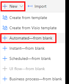Power Automate new Automated from blank