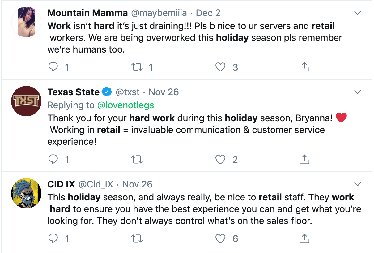 Screenshot of tweet about retail workers experiences during the holidays. Posted by multiple twitter users.