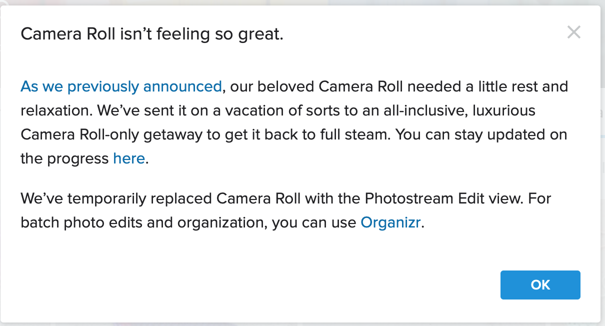 A message from Flickr about Camera Roll being down