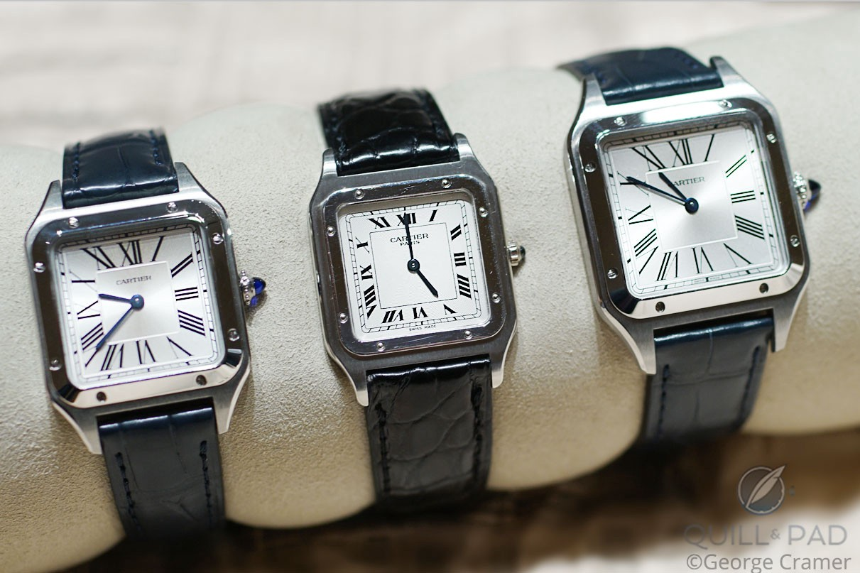 Left to right: the 2019 small Cartier Santos-Dumont, the discontinued Collection Privée Cartier Paris Santos-Dumont, and the 2019 large Cartier Santos-Dumont.