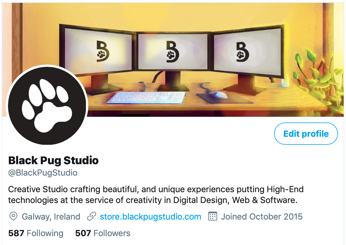Black Pug Studio Twitter Account