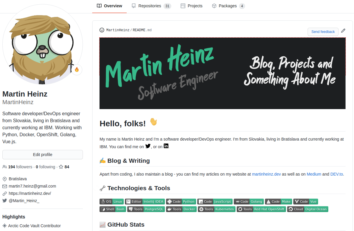 Build a Stunning README For Your GitHub Profile | by Martin Heinz | Towards  Data Science