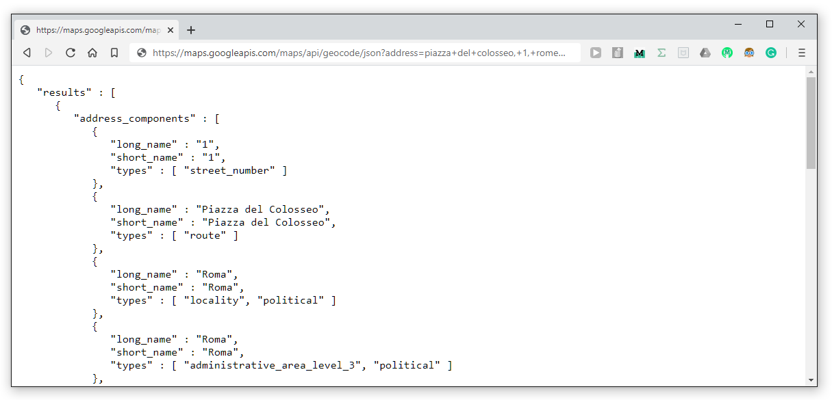 Screenshot of internet browser window showing the JSON format text response from the Google Maps API when requesting data