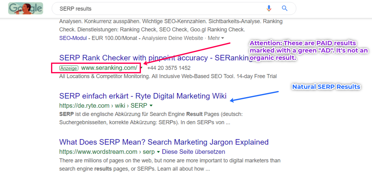 Google SERP Result Example. Paid vs Organic Results