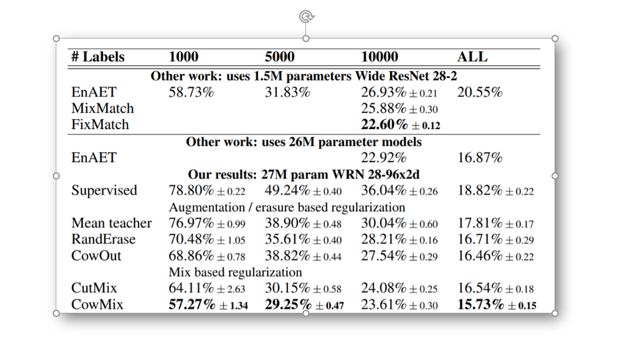 CowMask results on CIFAR-100 test set, error rates as mean ± stdev of 5 independent runs. Source: Arxiv