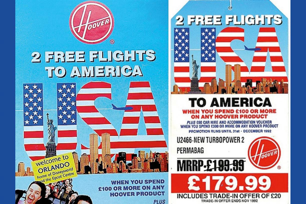 An advertisement used during the Hoover Free Flight marketing campaign