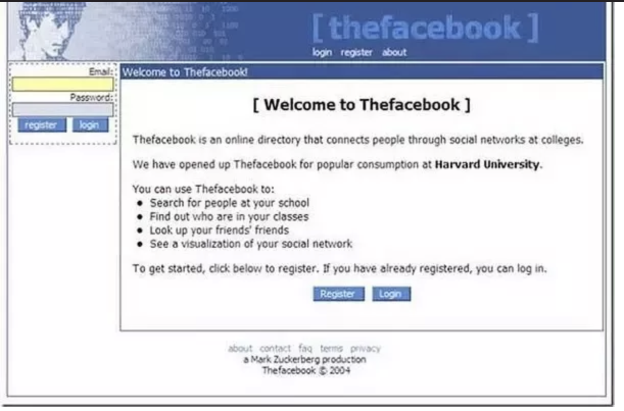 Facebook in its early days. Shows how basic and text-heavy the UI was when it was launched.