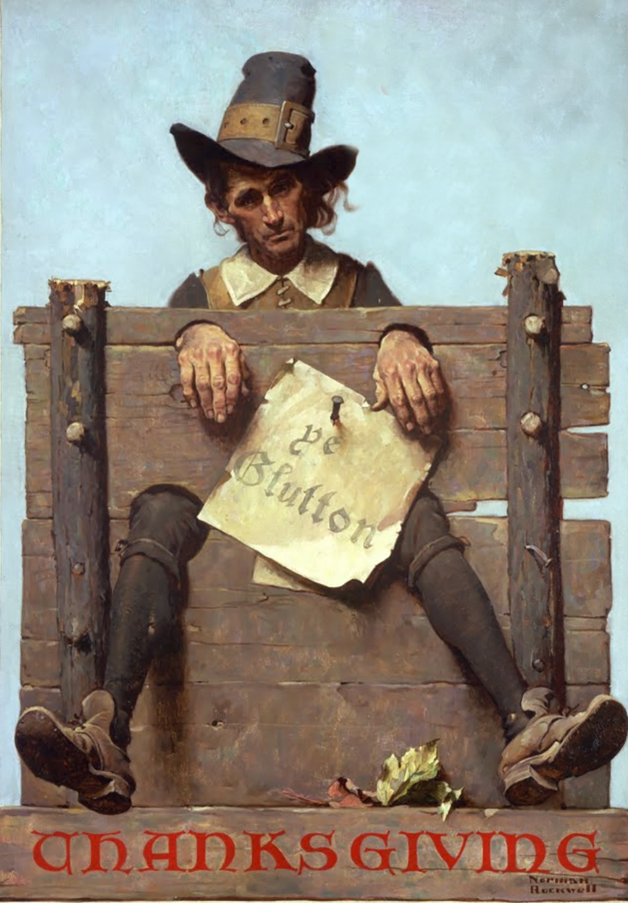 "A Norman Rockwell painting of a pilgrim man in the stocks with a sign, ""ye glutton"" affixed"