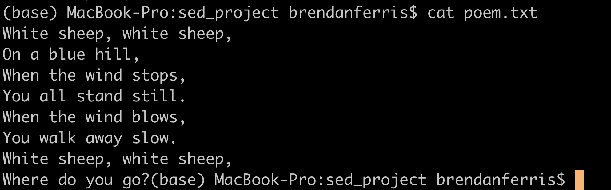 sed output