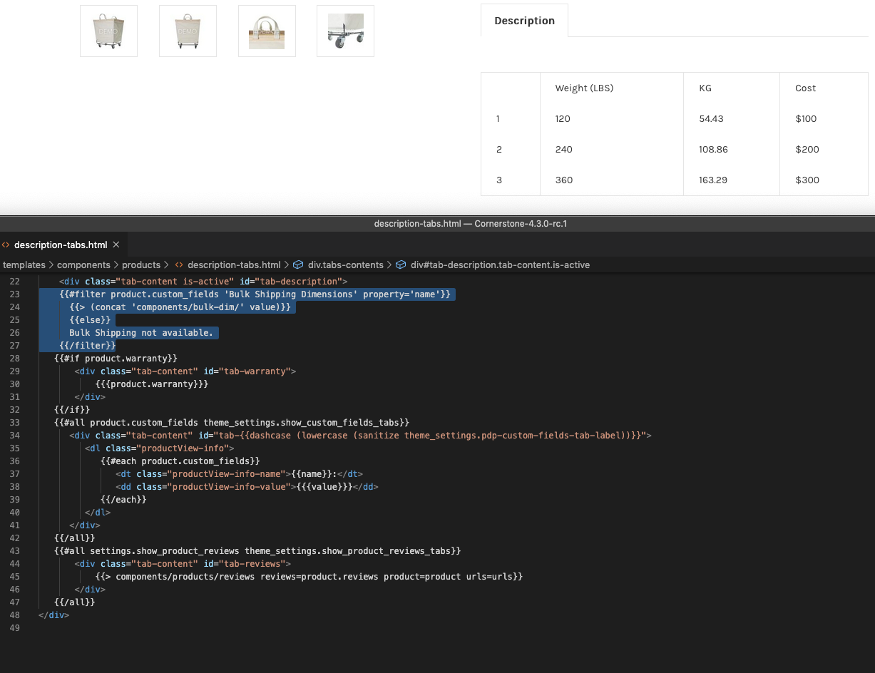 What our component looks like on a sandbox store, as well as description-tabs.html.
