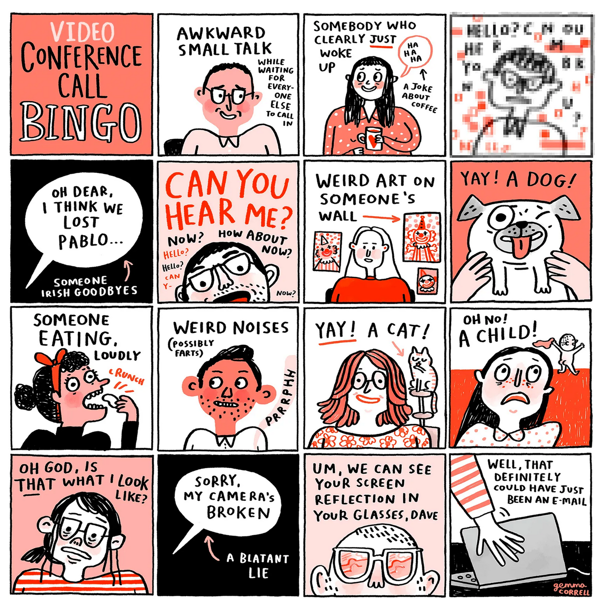 Video Conference Call Bingo - The Nib - Medium
