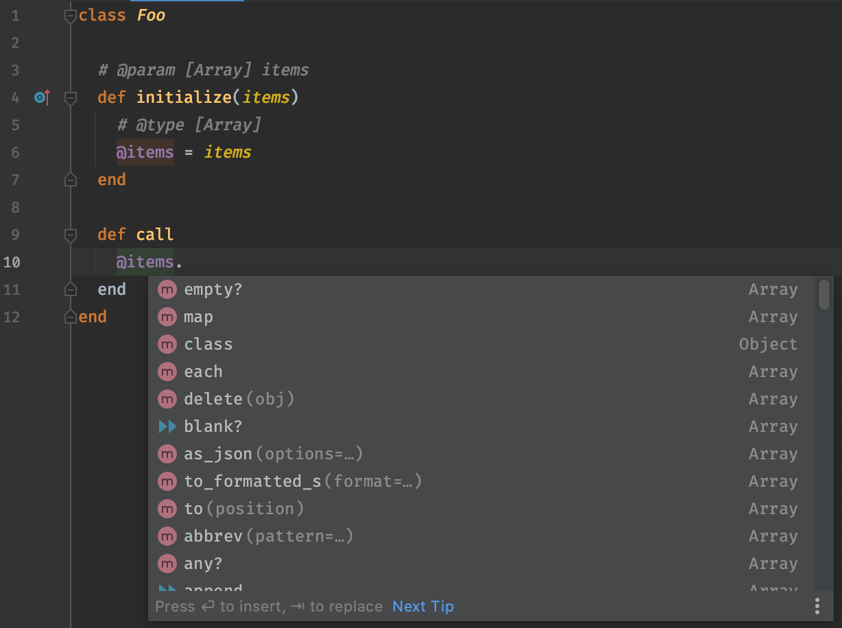 Screenshot of @items instance variable with a yard doc type annotation of Array, producing sensible suggestions.